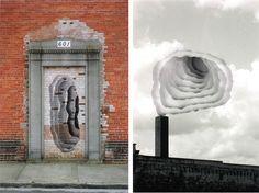 Genial trabajo del artista, paisajista y arquitecto Scott Hazard con sede enRaleigh,Carolina del Norte que emplea fotografías en capas para crear formas concéntricas que simbolizan columnas de humo, nubes, portales en misteriosas paredes....