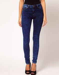 Enlarge ASOS Supersoft High Waisted Ultra Skinny Jeans in Dark Acid Wash