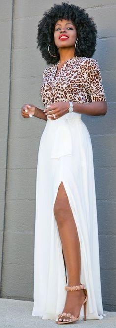 Leopard Shirt + White Split Maxi Skirt                                                                             Source