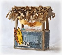 Luau Theme: a tiki hut treat box  maybe for the teacher but too much work for all the kids