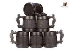Set of 6 Beer Mugs / Gifts Set of 6 Wooden Beer Mugs / Beer Steins By WoodenGifts - 0.6 Litres Or 20oz Wooden Mugs - Rustic Barrel Design - Stainless Steel Cups (Set of 6 Mugs)