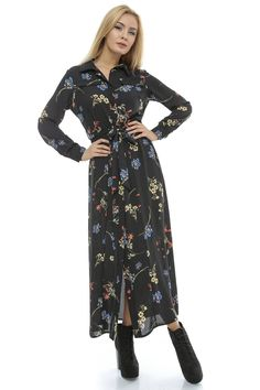 Rochie maxi, imprimata - DR2612 Cold Shoulder Dress, Dresses With Sleeves, Long Sleeve, Floral, Casual, Mall, Fashion, Moda, Sleeve Dresses