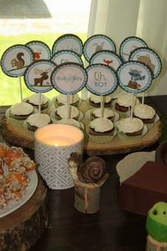 Woodland themed baby shower- cupcake toppers- dessert table