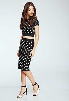 Polka Dot Knit Top& Pencil Skirt .
