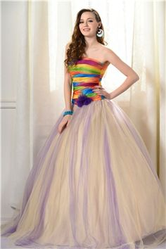 Attractive Color Ball Gown Strapless Flowers Long Prom/Quinceanera Dress