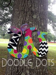 Funky Letter Door Hanger.  Southwestern patterns and colors where chevron and zebra,prints are???