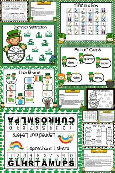 Are you looking for NO PREP literacy and math games for preschool, kindergarten, or first grade? Then enjoy this phonics and math resource which is comprised of FIVE different ST. PATRICK'S DAY themed games complete with a color version and black and white version of each game.  The games can be used for small group work, partner collaboration, or homework!  You can laminate the game boards for durability, and you can give the black and white versions out for repeated practice at home.