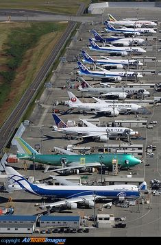 Eleven little aircraft standing in a row (OK, so maybe not so little!) Everett Boeing flight line.