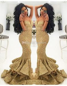 2016 New Prom Dresses Evening Pageant Formal Party Gown With Mermaid Spaghetti Straps Backless Sequins Lace Tiered Champagne Cheap Online with $94.52/Piece on Julia4444's Store | DHgate.com