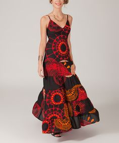 Aller Simplement Red & Black Geometric Maxi Dress - Plus Too | zulily