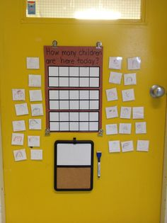 Our sign in using 10 Frames! Students count then write the number on the white board below.