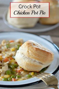 Crockpot Chicken Pot Pie is one of those easy crockpot meals that can be served as a one dish meal or simply add a salad and dinner is on the table! Healthy Chicken Pot Pie, Shredded Chicken Recipes, Crockpot Dishes, Crockpot Recipes, Crock Pot Tacos, Real Food Recipes, Yummy Food, Lunch Ideas, Meal Ideas
