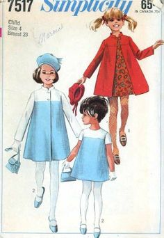 UNCUT 1960's Simplicity 7517 Pattern Girls Retro Dress w/Matching Coat size 4