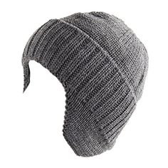 5e80d43d Amazon.com: Home Prefer Mens Winter Knit Earflap Hat Cuffed Beanie with  Ears Warmer Black: Clothing