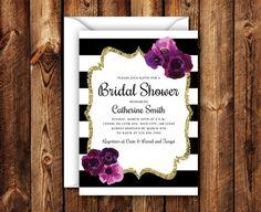 Elegant Floral Purple Gold Border Black Stripe Bridal Shower Invitation Boho Modern Wedding Shower Invite 5x7 Digital File or Printed Invite