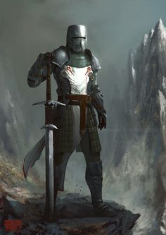 Art featuring medieval knights and their fantasy/sci-fi counterparts. Medieval Knight, Medieval Fantasy, Fantasy Armor, Dark Fantasy, Fantasy Character Design, Character Art, Character Concept, Illustration Fantasy, Crusader Knight