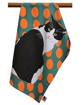 Keittiöpyyhe, musta-valkoinen kissa | Animal Ark - eläinaiheisen sisustuksen ja arkikäyttötuotteiden verkkokauppa 9,90 e