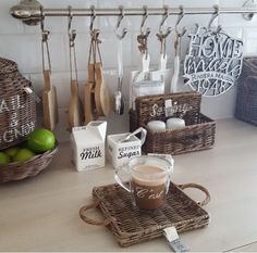 Wicker Vignette for the Kitchen with the added touch of green & silver!