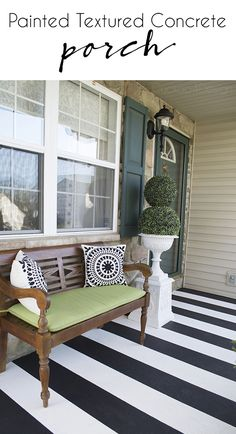 How to Paint Stripes on Your Front Porch Painting Crisp Black And White Stripes on Textured Front Porch - learn the trick behind getting crisp lines every time no matter what tape you use Painted Porch Floors, Painted Concrete Porch, Concrete Front Porch, Porch Paint, Porch Flooring, Laminate Flooring, Home Interior, Interior Design, Front Porch Makeover