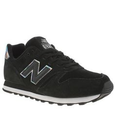 womens new balance black  silver 373 suede  mesh trainers