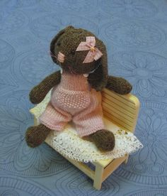 Rose    A lovely knitted bunny   Sweet as sweet by dollsandbunnies