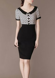 Classical Vintage Dress Black and White Polka Dot by Chieflady. #vestido #tubinho #gola #botões #manga #preto&branco