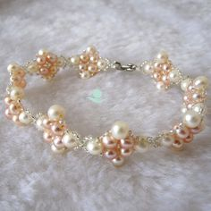 Pearl Bracelet - Cute 7.5 inches 4-5mm White Pink Freshwater Pearl Bracelet L - Free shipping on Etsy, ¥1,170.21