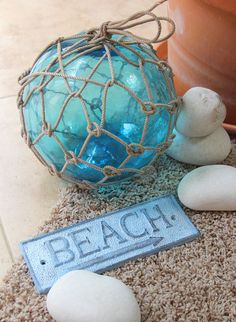 Beach Decor Sky Blue Big Onion Fishing Float by by SEASTYLE, $38.00