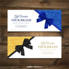 Fantastic gift vouchers with decorative bows Free Vector Broucher Design, Gift Voucher Design, Gift Card Template, Free Banner, Decorative Bows, Gift Vouchers, Gift Certificates, Christmas Cards, Xmas