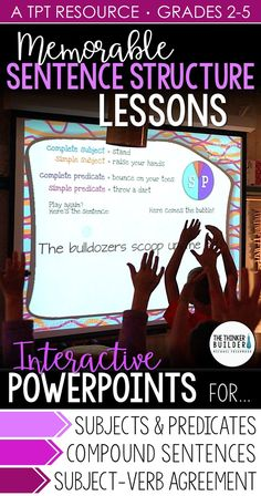 Five PowerPoint lessons focusing on subjects and predicates, subject-verb agreement, and compound sentences. Engaging and interactive grammar! Also includes practice Grammar Skills, Teaching Grammar, Teaching Language Arts, Grammar Lessons, Teaching Writing, Writing Skills, Speech And Language, Writing Centers, Grammar Activities