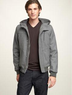 Men's hooded wool bomber jacket  http://gap.us/yF7eAg -- hehee cute boy!