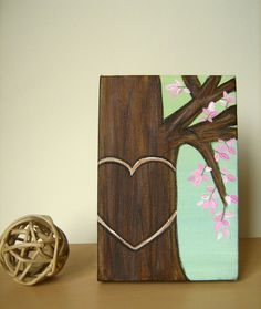 painted trees for wedding | Personalized Honey Tree with Pink Leaves - original painting on canvas ...