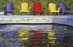 Multi-coloured muskoka chairs#Repin By:Pinterest++ for iPad#
