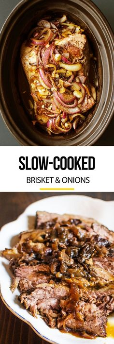 Slow Cooker Brisket and Onions Recipe. This EASY and SIMPLE comforting crockpot dinner will become one of your favorite comfort food recipes during the cold weather and months ahead. Switch is up with your roasts and beef recipes this winter!