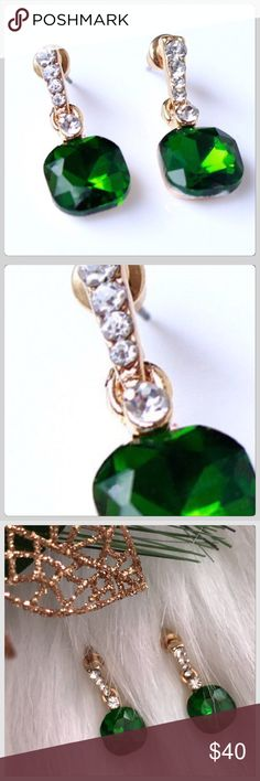 NWT Sparkling Green Emerald Rhinestone Earrings These are so beautiful! They would be perfect for your Christmas or New Years Eve Party! I have these and I love them! The sparkle so pretty! 1.5 Inches Boutique Jewelry Earrings