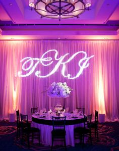 Create your own customized initial uplighting behind your sweetheart table.