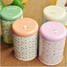 Mini tanque de armazenamento caixa de ferro rodada selado latas de chá lata coreano Pastoral pequeno Floral Vintage Romance de café em casa suprimentos aleatória