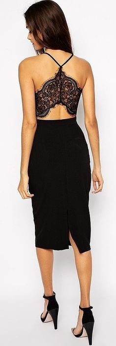 Oh My Love Midi Bodycon Dress With Lace Plunge Neck and Open Lace Back ($73)
