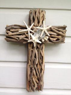 Driftwood Starfish Cross by My Honeypickles