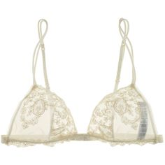 La Perla Donna Angelica Triangle Lace Bra ($204) ❤ liked on Polyvore featuring intimates, bras, lingerie, underwear, tops, la perla lingerie, transparent strap bra, see through lingerie, see through lace bras and triangle bra