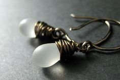 BRONZE Earrings  Frost Teardrop Earrings Dangle by TheTeardropShop, $22.00