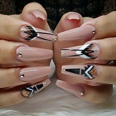 "If you're unfamiliar with nail trends and you hear the words ""coffin nails,"" what comes to mind? It's not nails with coffins drawn on them. It's long nails with a square tip, and the look has. Gorgeous Nails, Love Nails, Pretty Nails, My Nails, Long Nail Designs, Acrylic Nail Designs, Nail Art Designs, Nails Design, Stiletto Nails"