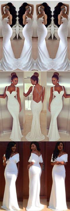 Beautiful White Long Mermaid Sexy Fashion Open Back Free Custom Made Prom Dress , PD0330