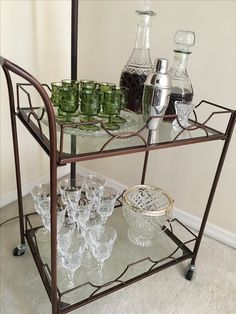 Bar cart with vintage crystal