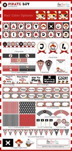 Red & Black DIY Pirate printables on Etsy.