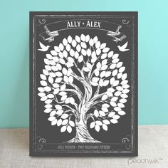 Chalkboard Style Wedding Tree Guest Book Alternative - Wedding Wish Tree - By Peachwik
