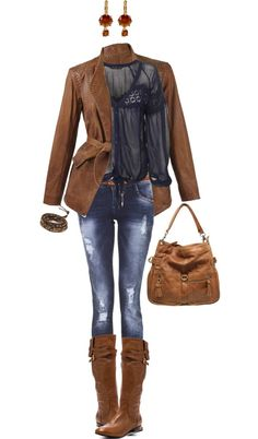 """Blue and Brown"" by angela-windsor on Polyvore"