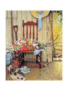 """Norman Percevel Rockwell was a American painter and illustrator. His works enjoy a broad popular appeal in the United States for their reflection of American culture. (Wikipedia) (""""Spring Flowers"""" by Norman Rockwell) Norman Rockwell Prints, Norman Rockwell Paintings, Peintures Norman Rockwell, Back To Nature, Pics Art, Stretched Canvas Prints, American Artists, Oeuvre D'art, Spring Flowers"""
