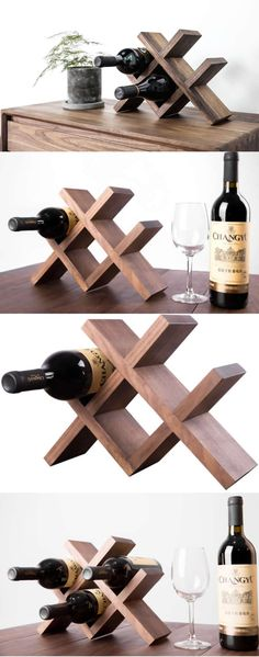 Black Walnut Wooden Wine Bottle Holder Storage Rack -Handmade Wood Bottle Holder-Wood Wine Bottle Display