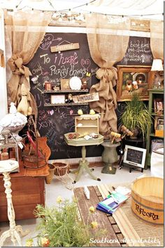Love the Burlap drapes!